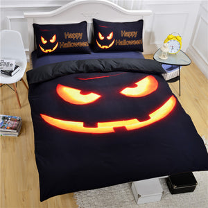 Happy Halloween 3D Jack o Lantern Pumpkin Bedding