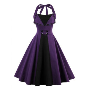 Gothic Halter Purple and Black Backless Buttoned Vintage Dress