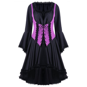Halloween Two Tone Lace Up Cocktail Dress Violet Rose