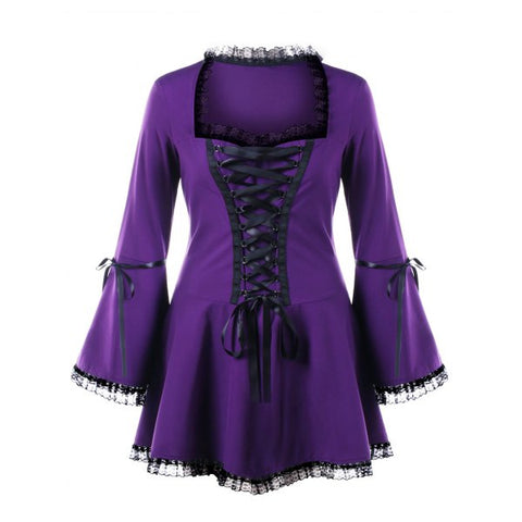 Plus Size Lace Up Bell Sleeve Top - Purple