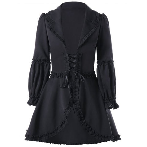 Gothic Ruffle Trimmed Lace Up Coat