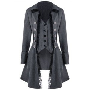 Lace Trim Button Up Gothic Tailcoat