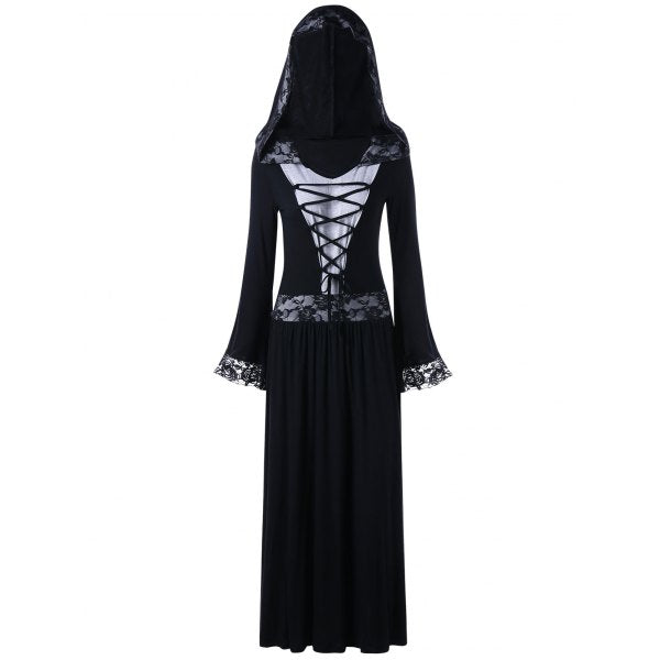 Lace Up Hooded Gothic Dress