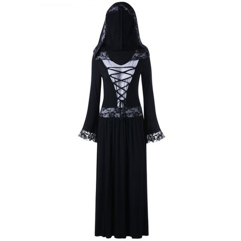 Lace Insert Lace Up Hooded Gothic Dress