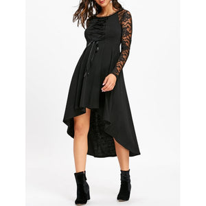 Lace Up High Low Hem Gothic Dress