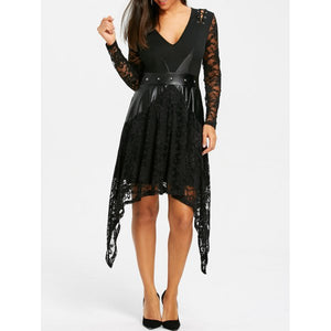 Lace Trim Crescent Hem Gothic Dress
