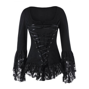 Black Square Neck Lace Up Gothic Top
