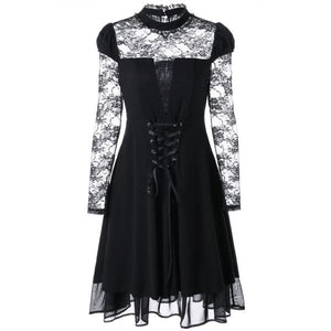 Sheer Lace Up Gothic Dress