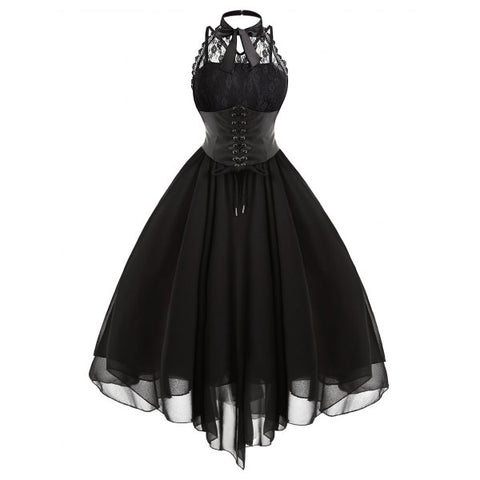 Gothic Cross Back Lace Panel Corset Dress