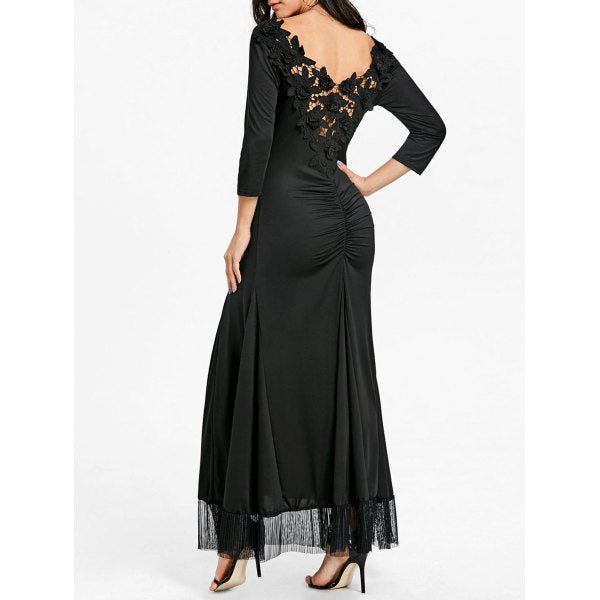 Backless Back Ruched Lace Gothic Dress