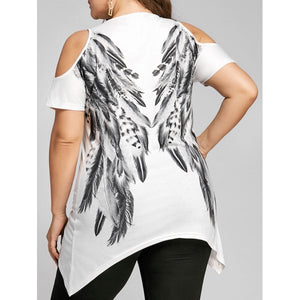 Plus Size White Angel Feather Print Cold Shoulder T-Shirt