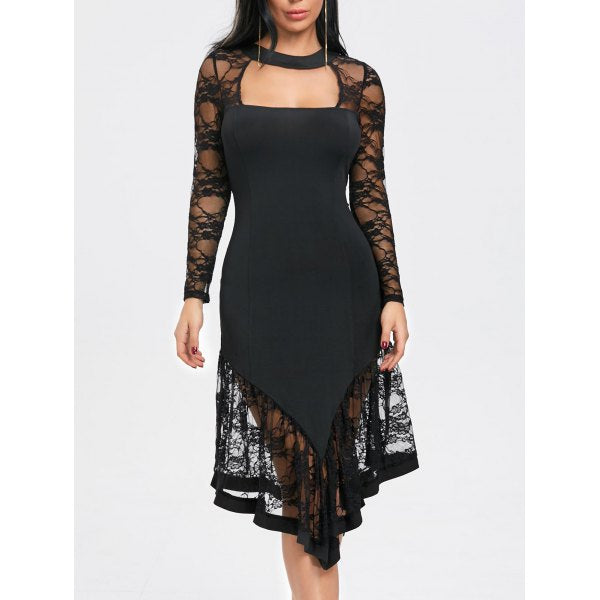 Asymmetrical Black Cut Out Lace Panel Gothic Dress