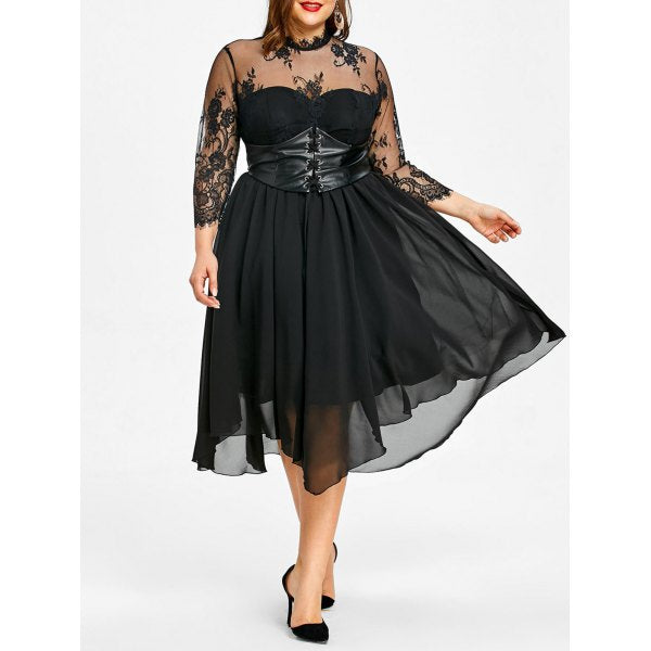 Plus Size Lace Panel Empire Waist Gothic Dress