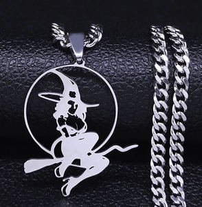 Witch Broom  Stainless Steel Necklace