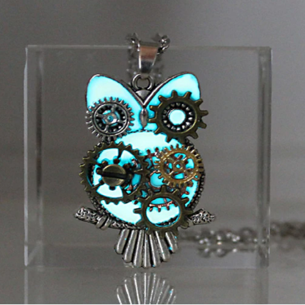 Steampunk Mechanical Owl Glowing Necklace