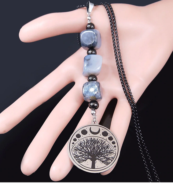 Moon Tree Of Life Stainless Steel Necklace