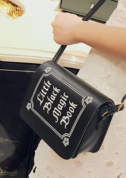 Little Black Magic Book Letter Print Shoulder Purse