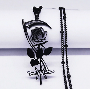 The Dark Rose  Stainless Steel Necklace