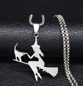 Cat And The Witch On A Broom Stainless Steel Necklace