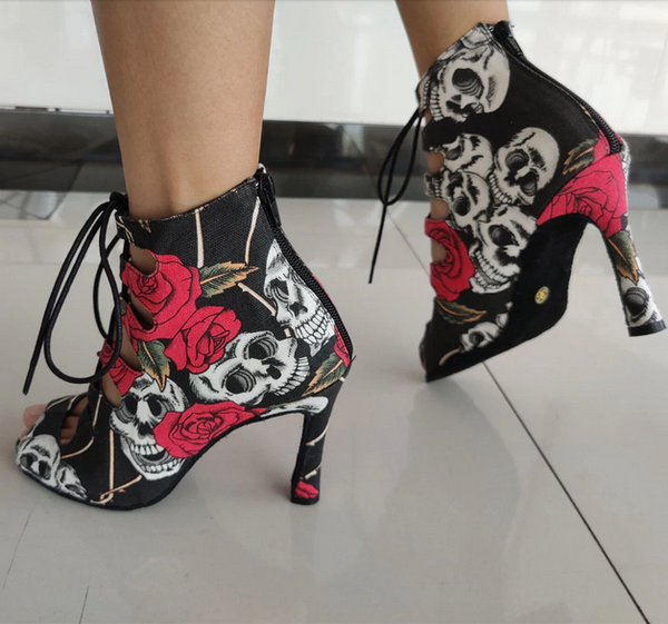 Skull Rose Gothic Style Dance Heeled Shoes