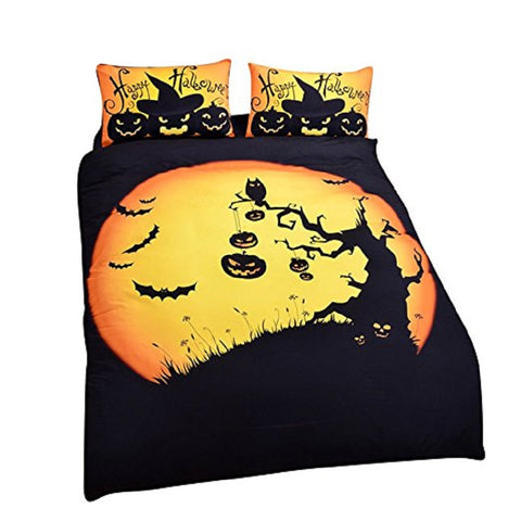 Halloween 3D Duvet Pumpkin & Bat Bedding Set