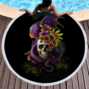 Flowery Skull By Sunima Art  Round Beach Towel