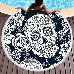 Skull White Flower Beach Towel