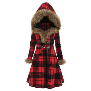 Faux Fur Plaid Gothic Style Jacket