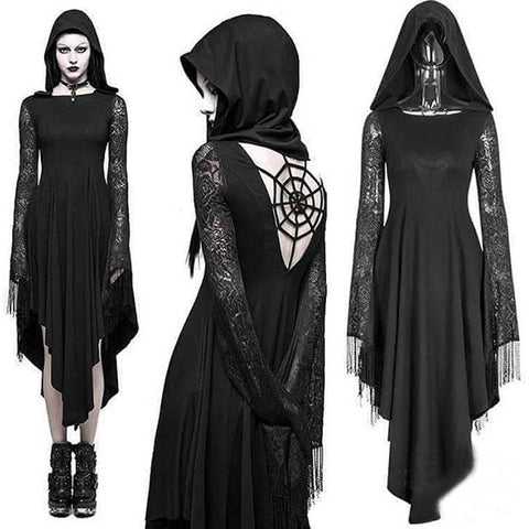 Spiderweb Hooded Black Halloween Dress Costume