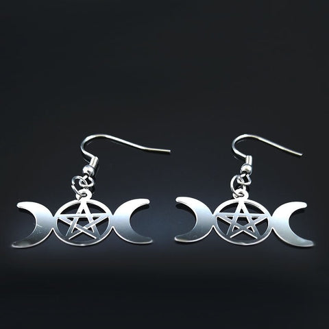 Sun Moon Pentagram Stainless Steel Earrings