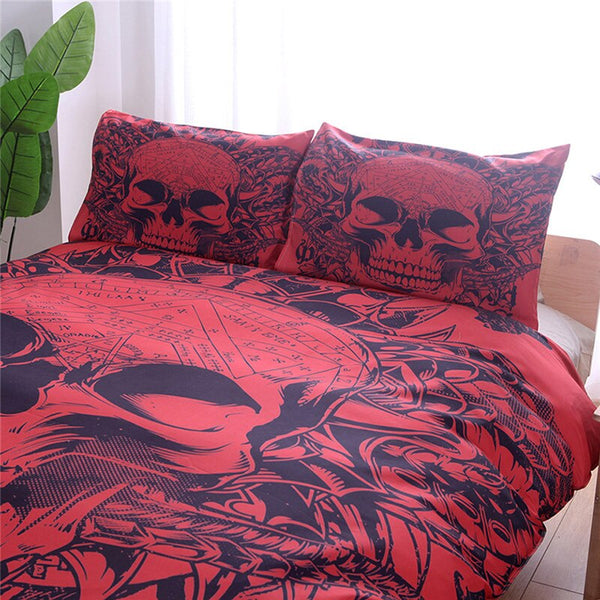 Skulls Red and Black 3pcs Gothic Style Bedding