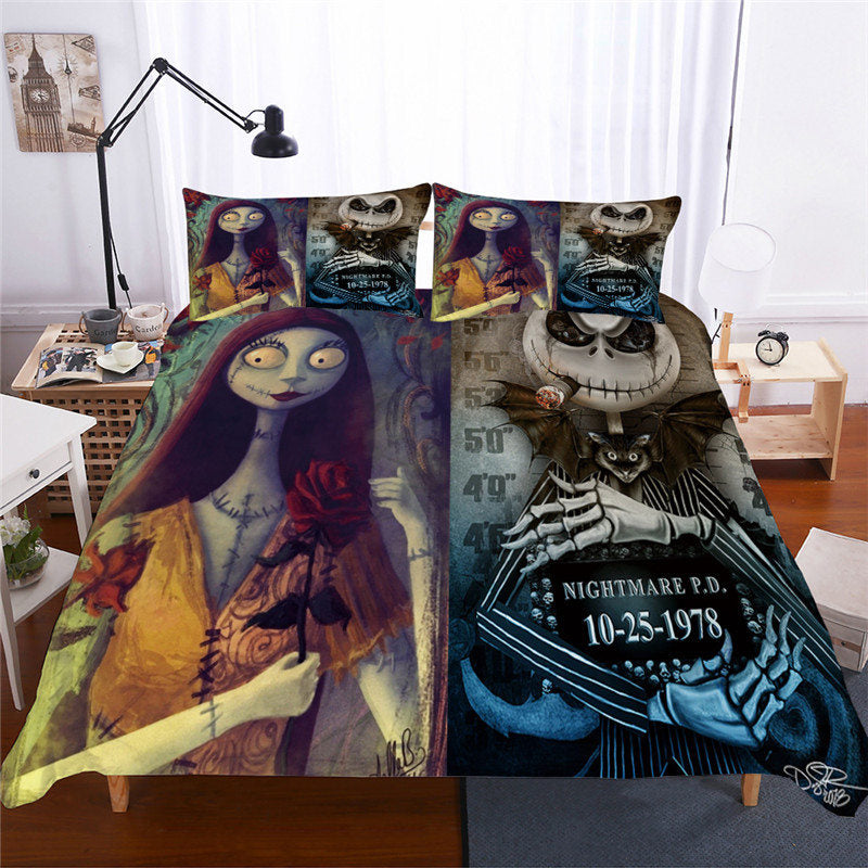 2-3pcs 3D Nightmare Before Christmas Jack & Sally Bedding