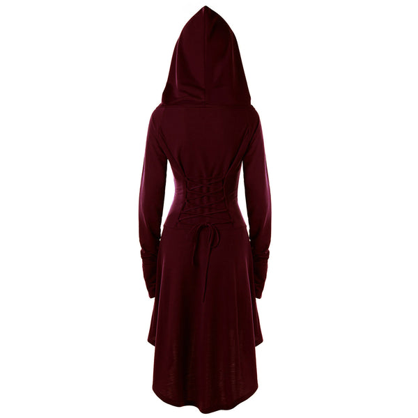 Gamiss Gothic Women Lace Up Hooded Dress
