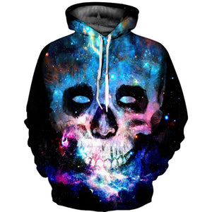 Intergalactic Skull 3D Print Hooded Sweatshirt