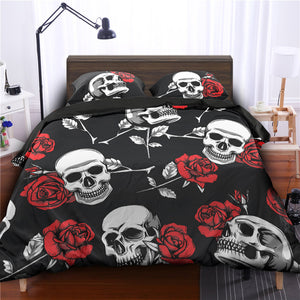 3D Print Rose Flower Skull 3pc Bedding Set