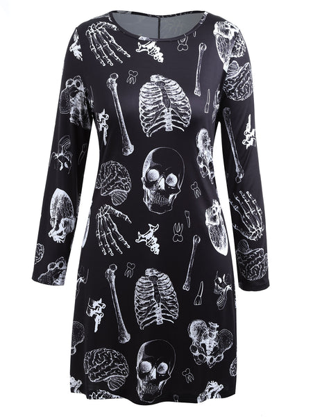 Gamiss Plus Size Skull Bones Dress