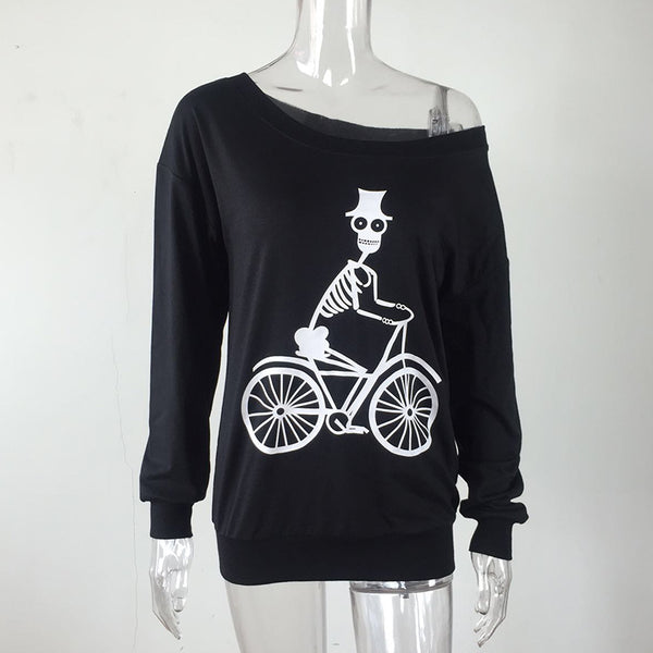 Off The Shoulder Skeleton Bike Long Sleeve Top