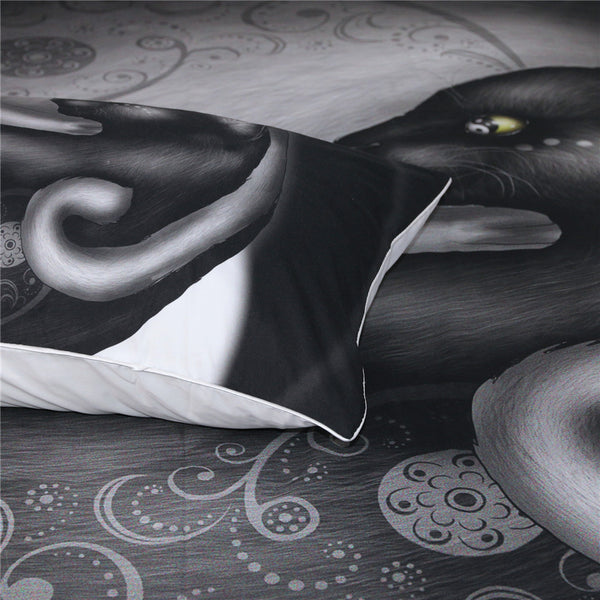 Yinyang Cat Morning by Khalia Art  3pc Bedding Set