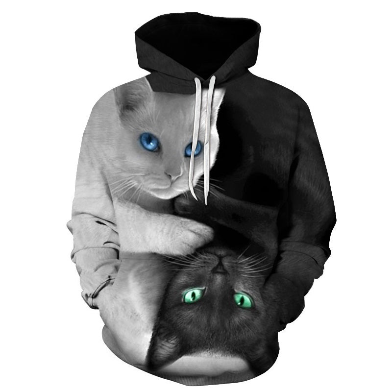 3D Black And White Pull Over Cat Hoodie