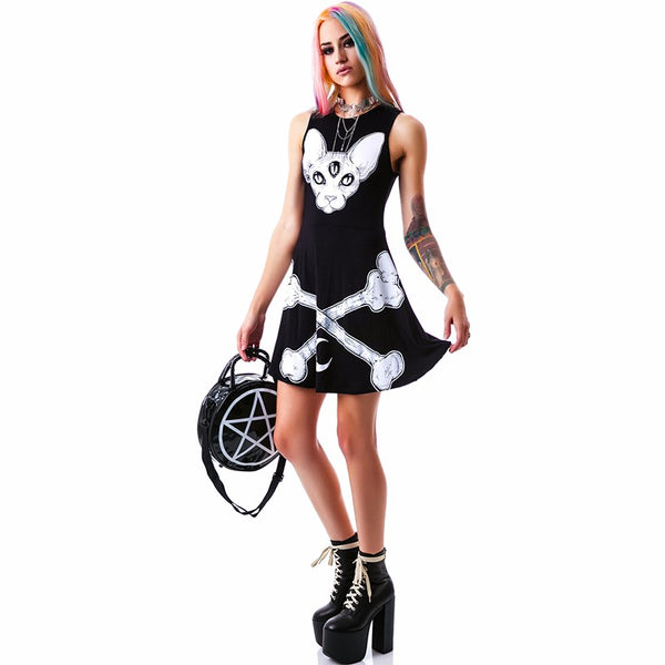 Gothic Cat Moon Slim Mini Dress