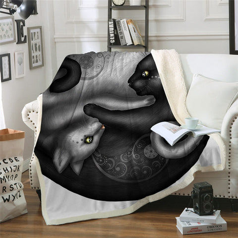 Yinyang Cat Morning by Khalia Art Velvet Plush Throw Blanket