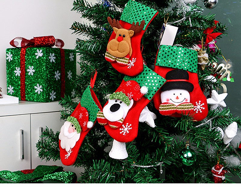 4pcs Cartoon Christmas Tree Socks Hanging Ornaments