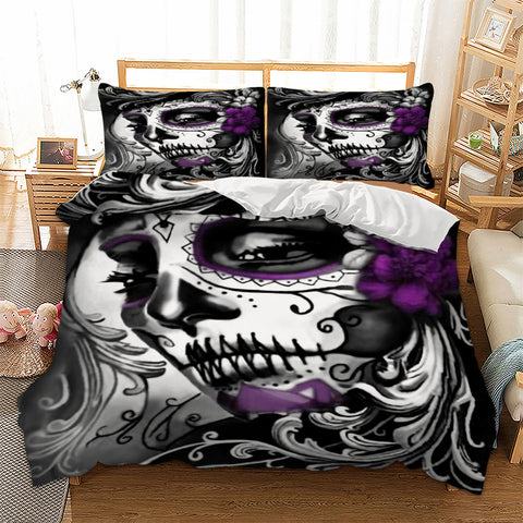 Gothic Skull Woman Flower Bedding Set