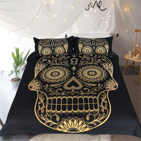 Dark Blue Mandala Golden Skull Bedding