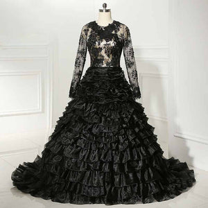 Black Lace Gothic Wedding Gown