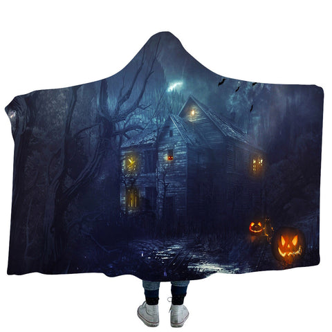Halloween Haunted House Hooded Blanket
