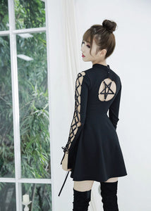 Gothic Hollow Out Black Mini Dress