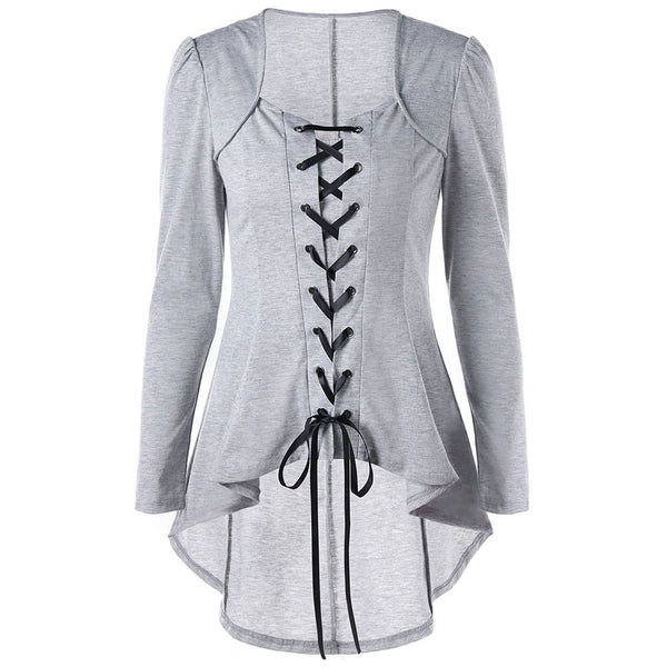 Gothic Style Lace Up Square Neck Style Shirt