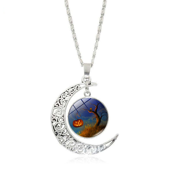 Crescent Moon Glass Cabochon Halloween Pendant Necklaces