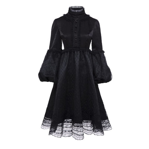Gothic Vintage Black Lace Dress